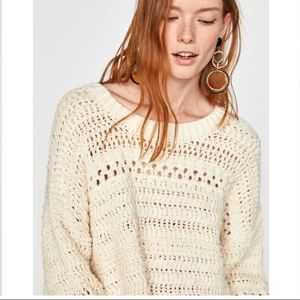 NWT Zara Long Sleeve Open Knit Sweater